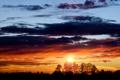 Картинка небо, солнце, облака, закат, вечер