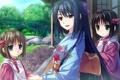 Картинка девушка, дети, дом, девочки, сад, солнечно, улыбки
