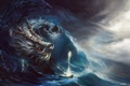 Картинка море, волны, шторм, магия, лодка, дракон, арт