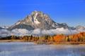 Картинка горы, небо, озеро, скала