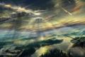 Картинка небо, облака, лучи, пейзаж, река, вертолет, живопись