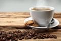 Картинка кофе, печенье, чашка, кофейные зерна, блюдце