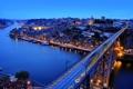 Картинка мост, city, река, улица, дома, вечер, Португалия