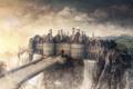 Картинка небо, облака, мост, замок, водопад