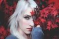 Картинка листья, осень, девушка, краски, портрет