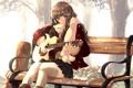 Картинка кошка, гитара, аниме, арт, девочка