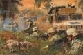 Картинка город, война, хаммер, солдаты, стрельба
