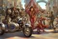 Картинка люди, крылья, юмор, арт, мотоцикл, броня, персонажи