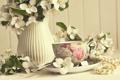 Картинка розы, весна, ваза, Spring, vase, roses, чашка чая