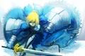Картинка девушка, оружие, злость, меч, арт, броня, saber