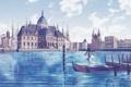 Картинка вода, девушка, часы, лодки, шляпа, Дворец, хвосты