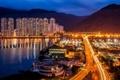 Картинка море, ночь, город, огни, здания, дороги, дома