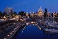 Картинка ночь, город, яхты, фонари