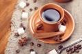 Картинка кофе, зерна, ложка, чашка, сахар, корица, блюдце