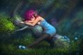 Картинка лес, блики, растения, Девушка, свет, дерево