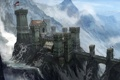Картинка снег, горы, мост, люди, замок, форт, concept art