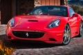 Картинка красный, фон, Феррари, Калифорния, Ferrari, California, передок