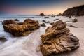 Картинка песок, пляж, камни, океан