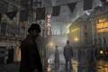 Картинка город, улица, вечер, steampunk, прохожие