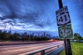 Картинка город, знак, трасса, США, Chicago, Иллиноис