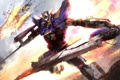 Картинка полет, взрывы, mech, Gundam