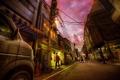 Картинка город, улица, вечер, фонарь, прохожие