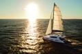 Картинка яхта, путь, солнце, море