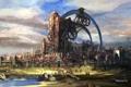 Картинка мост, город, река, здания, механизм, арт, tera online