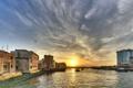 Картинка закат, дома, лодки, Дубаи, залив