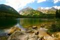 Картинка water, mountains, stones, Lake, vegetation