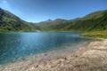 Картинка зелень, горы, озеро, холмы, берег