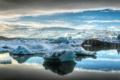 Картинка лед, море, небо, облака, горы, айсберг, льдина
