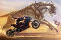 Картинка песок, кошка, оружие, гонка, пустыня, крылья, монстр
