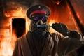 Картинка огонь, противогаз, капитан, фуражка, пожар, арт, зубная щетка
