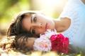 Картинка лето, девушка, цветы, природа, брюнетка, пионы