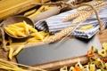 Картинка пшеница, дерево, ложка, доска, спагетти, макароны