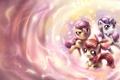 Картинка абстракция, арт, пони, трое, рог, My Little Pony