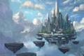Картинка облака, камни, арт, летающий замок
