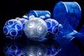 Картинка украшения, синий, отражение, шары, серебряный, Ёлочные, лента со снежинками