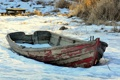 Картинка зима, снег, лодка