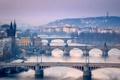 Картинка небо, мост, река, башня, дома, Прага, Чехия