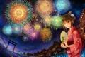 Картинка ночь, город, огни, река, праздник, япония, салют