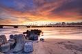 Картинка река, небо, рассвет, мост, озеро, тучи