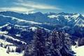 Картинка зима, небо, снег, деревья, горы, горные, снежные вершины