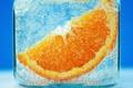 Картинка фон, пузырьки, апельсин, вода