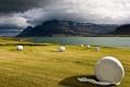 Картинка поле, облака, скалы, сено, сергей доля, исландия
