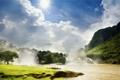 Картинка горы, небо, река, солнце, водопад