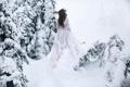 Картинка зима, девушка, снег, платье