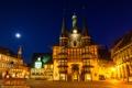 Картинка ночь, огни, дома, сказка, Германия, площадь, фонтан