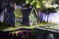 Картинка пейзаж, цветы, мост, дом, арт